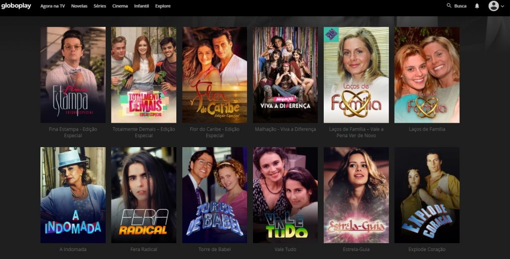 Seção de novelas da GloboPlay