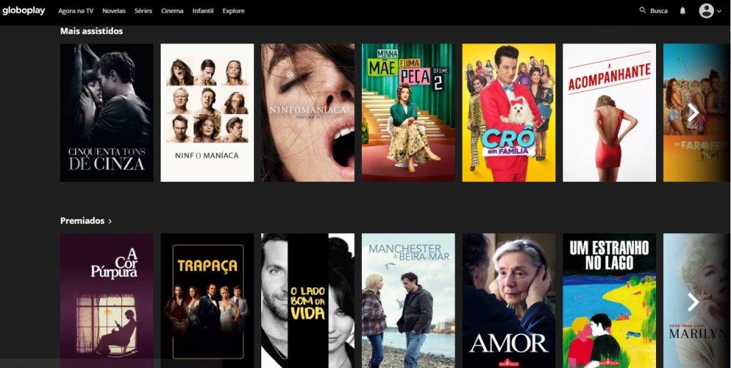 Seção de filmes GloboPlay