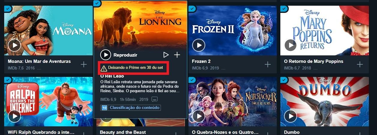 Produções da Disney deixam catálogo do Prime Video