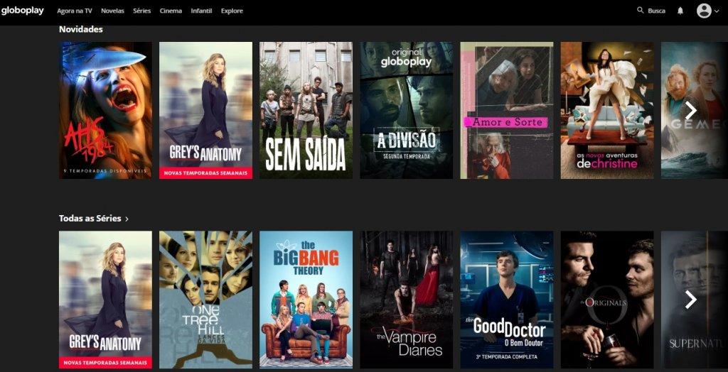 Seção de séries da GloboPlay