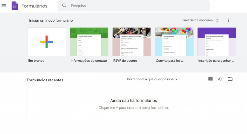Tela inicial do Google Forms